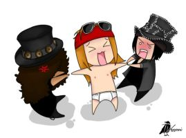 Slash, Axl Rose And Dj Ashba Chibi by OneDiih