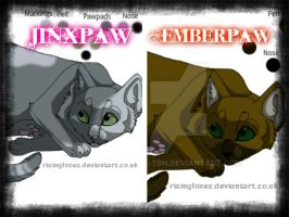 Jinxpaw and Emberpaw ~Warrior Cats OCs~ by germansheperdgirl357
