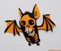 Skull Bat Magnet by WonderDookie