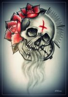 LAST BREATH tattoo flash skull roses by oldSkullLovebyMW