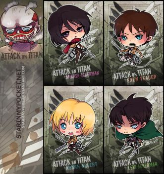 Attack on Titan Chibi Set by StarMasayume