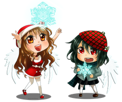 CMS Chibi Santa Angels by Saku-shii