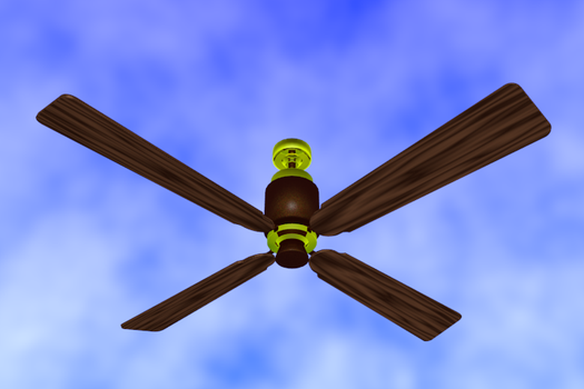 4 Blade E.U.S. Ceiling Fan Brown and Brass render by ThunderClawShocktrix