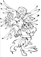 Digimon- Angemon Lineart by Glory-Day
