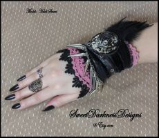 Gothic wrist cuff pink and black lace with feather by SweetDarknessDesigns