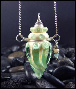 She Walks the Sea - Glass Lampwork Bottle Pendant by andromeda