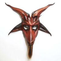 Baphomet Goat Leather Mask red black Krampus by teonova