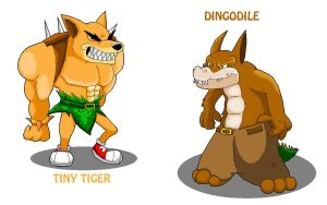 Tiny Tiger and Dingodile by KyuubiCore