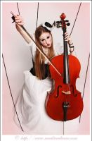 marionette and her cello by starlitziggy