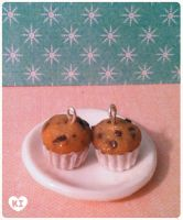 Miniature Choc chip Muffin charms by kicat