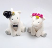 Unicorns Wedding Cake Topper by HeartshapedCreations