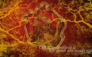 HP Wallpaper : Gryffindor Lightning (with quote) by TheLadyAvatar