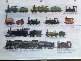 Movie and TV locomotives by drawing425