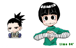 Rock Lee and his Chibi by thegreatlimechan