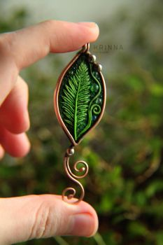 Polymer clay fern with glass bubbles by Krinna