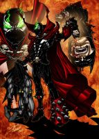 Spawn vs Batman coloured by shindmeister