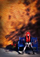Jo on blue bench by Demonoftheheavens