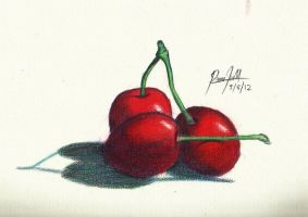 Cherries Colored Pencil by TheR-tist