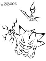 Tribal Gengar/Zubat Tattoo by blackbutterfly006