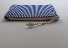 Blue and White stripe coin purse -on white by sewn-by-honeybirds