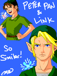 Tegaki - Peter Pan and Link by ryuomaru