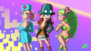 Terraria Nurse, Steampunker and Dryad by Twisted4000
