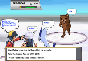 Gold protects himself and Dawn from Pedobear by DarkraDx