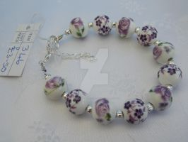 Floral ceramic and silver beaded bracelet 346 by Quested-Creations