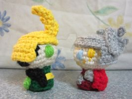 Itty Bitty Thor and Loki 2 by CrochetHyperbole