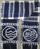 Water Bending/Tribe Scarf--Navy--CloseUp by ashesonfire