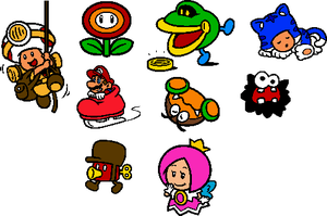 Coloured SM3DW World 6 Stamps by geno2925
