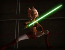 Ahsoka Tano Fights the Shadows by Ippotamus