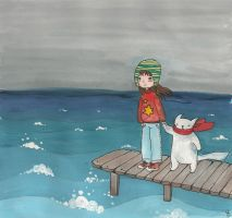 Chil, Sea and Cat by Yalike