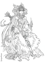 White Sorceress Mahel [lineart commission] by SpigaRose
