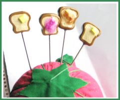 Toast Sewing Pins by softbluecries