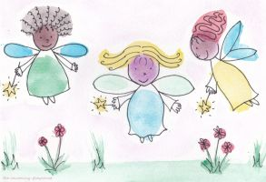 Watercolour Fairies by Rhiallom