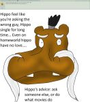 Ask my OCs wave II 52: Dating advice of a hippo by kingofthedededes73