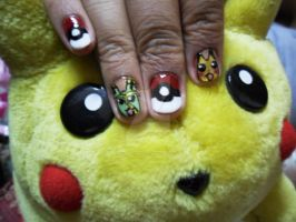 Pikachu And Lumeon Nail Art by super5003