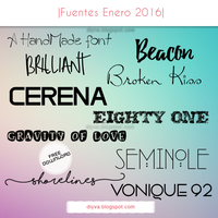 January Fonts (Pack fuentes Enero 2016) by DiyVa-Jessica