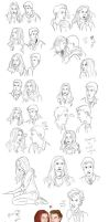 Massive Amy Pond/Rory Williams Sketch Dump by eclecticmuse