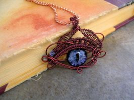 Wire Wrap Eye - Ghost in the Fog - Dragon/Evil by LadyPirotessa