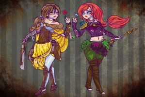 Belle And Arial Zombie Slayers by Bunneahmunkeah