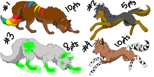 Wolf Adoptables7 CLOSED by TheFoxFeatherz