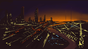 Futuristic City Quick Painting by SpartanK42