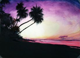 sunset water color beach Final by Ant787