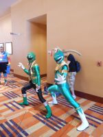 Gokai Green and the Green Ranger by DragonDuelistGirl