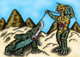 K-War 3: Guiron vs Ligon-Tyrox by earthbaragon