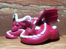 Polymer Clay Little Red Sleeping Dragon by Valtira