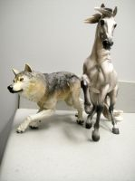 Sideshow Timber wolf and breyer alborozo by pookyhorse