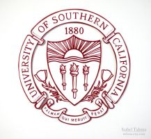 University of Southern California Paper Cut Crest by fit51391